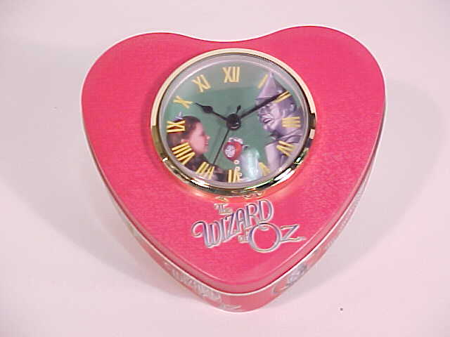 "Picture of Wizard of Oz Tin Man Heart Tin with Clock in Lid (6.5x6x2.5"")"