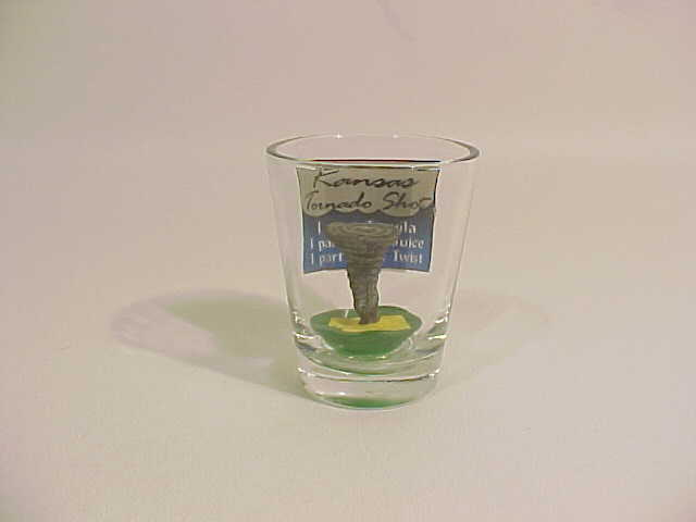 Picture of Kansas tornado shot glass with 3D tornado in bottom of glass